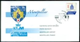 Nederland 2015 Envelop Eerste KLM Lijnvlucht Met Fokker 70 Amsterdam - Montpellier - Poste Aérienne