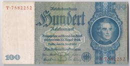 BILLET DE BANQUE D'ALLEMAGNE 100 REICHSMARK Du 24 Juin 1935 N° T.7582252 état TTB - [ 4] 1933-1945 : Troisième Reich