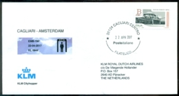 Italie 2017 Envelop Eerste KLM Lijnvlucht Met EMB-190 Cagliari - Amsterdam - 6. 1946-.. Repubblica