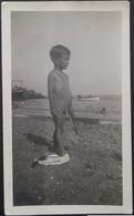 BOY GARCON Boy S-nude In Old Mankini Swimsuit By Beach - Garcon Demi-nue En Maillot De Bain La Pêche - Photo 1937 - Anonymous Persons