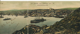 Double Fold Panoramic Card St John's Newfoundland . Stamped Not Used Edyt Byrne's - St. John's