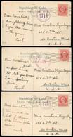 CUBA. 1918. 3 Used Colot Postcards, Diff. F-VF. - Cuba