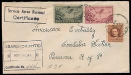 CUBA. 1949. Guaro / Oriente - PANAMA. Registered Airmail Multifkd Env. VF. - Cuba