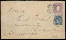 CHILE - Stationery. 1894. Concepcion - Germany. 5c Stat Env + Adtl. Fine. - Chile