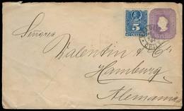 CHILE - Stationery. 1894. Vadivia - Germany. 5c Stat Env + 5c Blue Adtl. Fine. - Chile