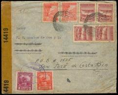 Chile - XX. 1943. Valp - Venezuela, Fwded To Costa Rica. Dual Fkg + Censored. VF. - Chile