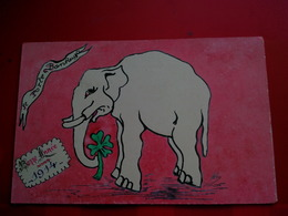 PEINTE A LA MAIN BONNE ANNEE 1914 ELEPHANT - New Year