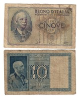 Italy 5 & 10 Lire Lot Set Lotto Dittatura Fascista - Collections