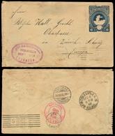 HONDURAS. 1892. Yuscaran - Switzerland. Rare Town Overseas Usage On Stat Env. Several Transits Reverse. Via Tega. - Honduras