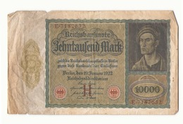 Allemagne Billet 10000 Mark 19 Janvier 1922 ( Pliures, Déchirures ) - [ 3] 1918-1933 : República De Weimar