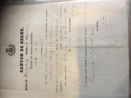 Registre Mortuaire Extrait - Suisse Canton De Berne - Porrentruy Paroisse Chevenez 1822 à Voir !!! - Décès