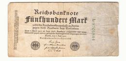 Allemagne Billet 500 Mark 1922, ( Pliures, Déchirures, Rousseurs Taches  ) - [ 3] 1918-1933 : República De Weimar