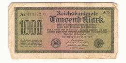 Allemagne Billet 1000 Mark 1922, ( Pliures, Déchirures, Rousseurs Taches  ) - [ 3] 1918-1933 : Weimar Republic