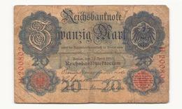 Allemagne Billet 20 Mark 1910, ( Pliures, Déchirures, Rousseurs Taches  ) - [ 2] 1871-1918 : Empire Allemand