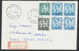 """Lunettes - N°924, 1066 Et 1069B En Bloc De 4 Sur Lettre En Recommandé De Assesse + Obl à étoiles """"Maillen"""" Vers St-Serva - 1953-1972 Lunettes"""