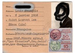 Carte D'identité Affaires étrangères  1951  Ambassade De France à Caracas+ Fiscal En Rapport - Vieux Papiers
