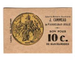 Bon Pour 10c De Marchandise  épicerie Commeau Vaudelnay-Rillé  Cartonné 4x6 Cm - Bons & Nécessité