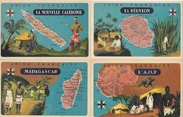 5 CARTES - PUBLICITE LION NOIR - UNION FRANCAISE - LA REUNION - MADAGASCAR- L AOF- LA NOUVELLE CALEDONIE- OUBANGUI-CHARI - Werbepostkarten