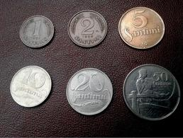 LATVIA Lettland Lettonia 1922 -1939 Coin Set 1;2;5;10;20;50 Santims All Values - Latvia
