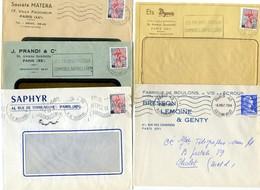 Lot De 5 Lettres Publicitaires De Paris XXè - Marcophilie (Lettres)