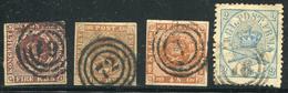 DANEMARK - N° 2 (2) + 8 + 11 - OBL. TE - 1851-63 (Frederik VII)