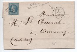 1869 - LETTRE De BASTIA (CORSE) Avec CACHET BATEAU A VAPEUR & GC 2240 De MARSEILLE - 1849-1876: Classic Period