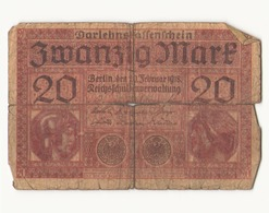 Allemagne Billet 20 Mark, 1918 , ( Pliures, Déchirures, Rousseurs Taches  ) - [ 3] 1918-1933 : République De Weimar