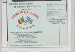 CONNAISSEMENT  MARINE - COMPAGNIE DE TRANSPORT MARITIME BELGE - OSTENDE POUR BEYRUTH 1950 - Bateaux