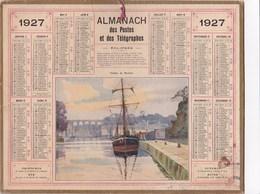 Almanach Calendriers Des Postes Et Télégraphes 1927 Viaduc De Morlaix Illustré Bateau A Quai Voilier - Calendriers