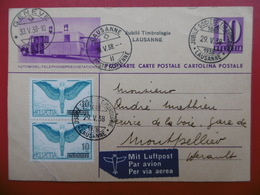 SUISSE ENTIER POSTAL COMPLEMENT PAIRE TIMBRE POSTE AERIENNE 1938 CACHET JUBILE TIMBROLOGIE LAUSANNE - Postwaardestukken