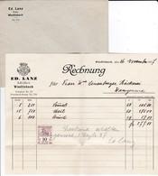 Rechnung / Facture Lanz, Müller /meunier, Wiedlisbach, 1927, Mit Fiskalmarke /timbre Fiscal - Suisse