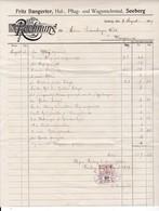 Rechnung / Facture Bangerter Huf- Pflug- Und Wagenschmied, Seeberg BE, Mit Fiskalmarke /timbre Fiscal, 1919 - Suisse
