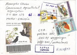 Ethiopia 2000 Duppa Agriculture Tool Flag Army Woodpecker Registered Express Cover - Ethiopië