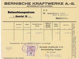 Rechnung BKW Bernische Kraftwerke AG, Mit Fiskalmarke, 1929 - Suisse