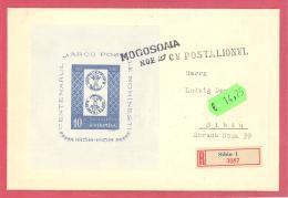 Romania   Centenarul Marci Postale Romanest Mit Michel Block 40 Auf Einschreiben Brief  Mit SST Befördert Mit Postillion - Philatelic Exhibitions