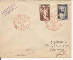 RARE ENVELOPPE PREMIER JOUR LA CROIX ROUGE ET LA POSTE PARIS 1950 - FDC