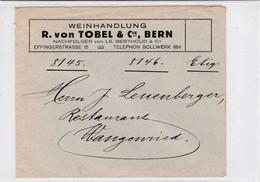 Enveloppe Weinhandlung Von Tobel Bern, Rückseite Politische Propaganda - Suisse