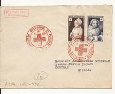 ENVELOPPE PREMIER JOUR LA CROIX ROUGE ET LA POSTE PARIS 1951 - 1950-1959