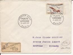 ENVELOPPE PREMIER JOUR POSTE AERIENNE 1954 PARIS RECOMMANDE - 1950-1959