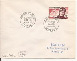 ENVELOPPE PREMIER JOUR MARYSE BASTIé 1955 LIMOGES - 1950-1959