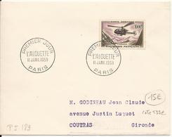 ENVELOPPE PREMIER JOUR HELICOPTERE ALOUETTE 1958 PARIS - FDC