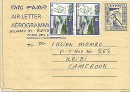 Ethiopia 1998 Dire Dawa Steinbock Yellow Paper Aerogramme Sehler Type 37 - Ethiopië