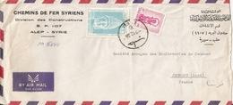Enveloppe Chemins De Fer Syriens, Alep (Syrie) à Jeumont Par Avion Avec Timbres, 1960 - Syrien