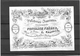 Bruxelles *  (Carte Porcelaine)  Pelleteries - Fourrures - Ganterie Fontaine Frères (Place St. Jean, 3) - Cartes Porcelaine