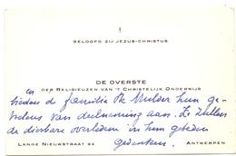 Visitekaartje - Carte Visite - Overste Religieuzen Christelijk Onderwijs - Antwerpen - Cartes De Visite