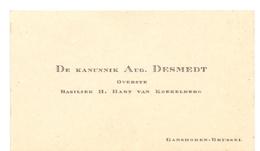 Visitekaartje - Carte Visite - Kanunnik Aug. Desmedt - Overste Basiliek Koekelberg - Ganshoren Brussel - Cartes De Visite