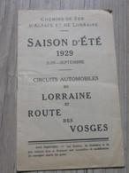 Fascicule Des Chemins De Fer D'Alsace Et De Lorraine Année 1929 - Alsace