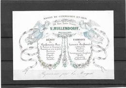 Bruxelles *  (Carte Porcelaine)  Maison De Commission En Gros V. Mullendorff (Rue Terre Neuve, 130) Parfumerie , Savons - Cartes Porcelaine