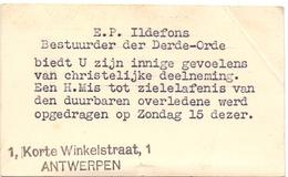 Visitekaartje - Carte Visite - Pater - EP Ildefons - Bestuurder 3° Orde Antwerpen - Cartes De Visite