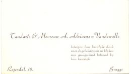 Visitekaartje - Carte Visite - Tandarts A. Adriaens - Vandewalle - Bruges Brugge - Cartes De Visite